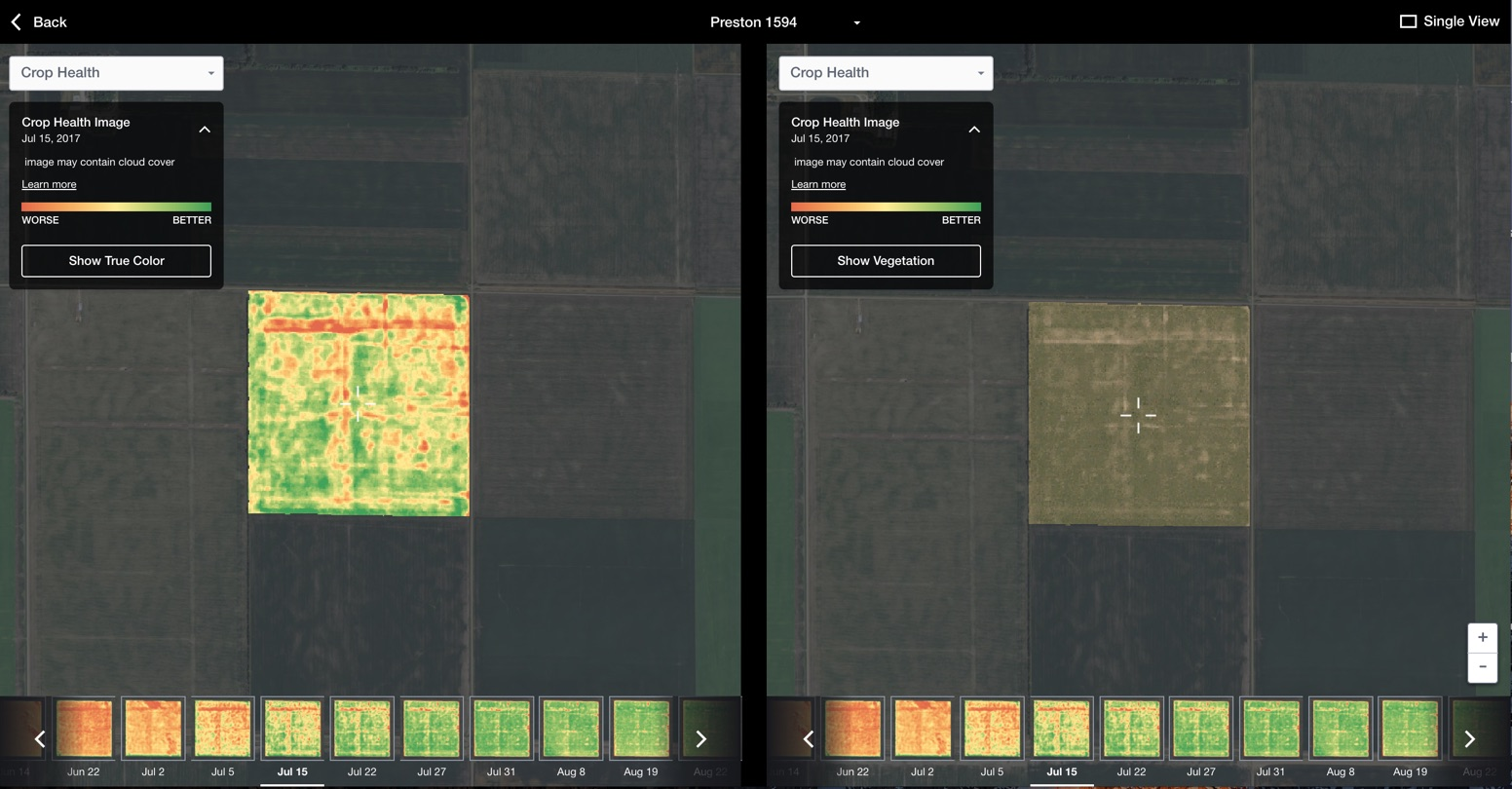 Compare Crop Health Imagery to true color satellite imagery with the Field Data Explorer from FarmLogs
